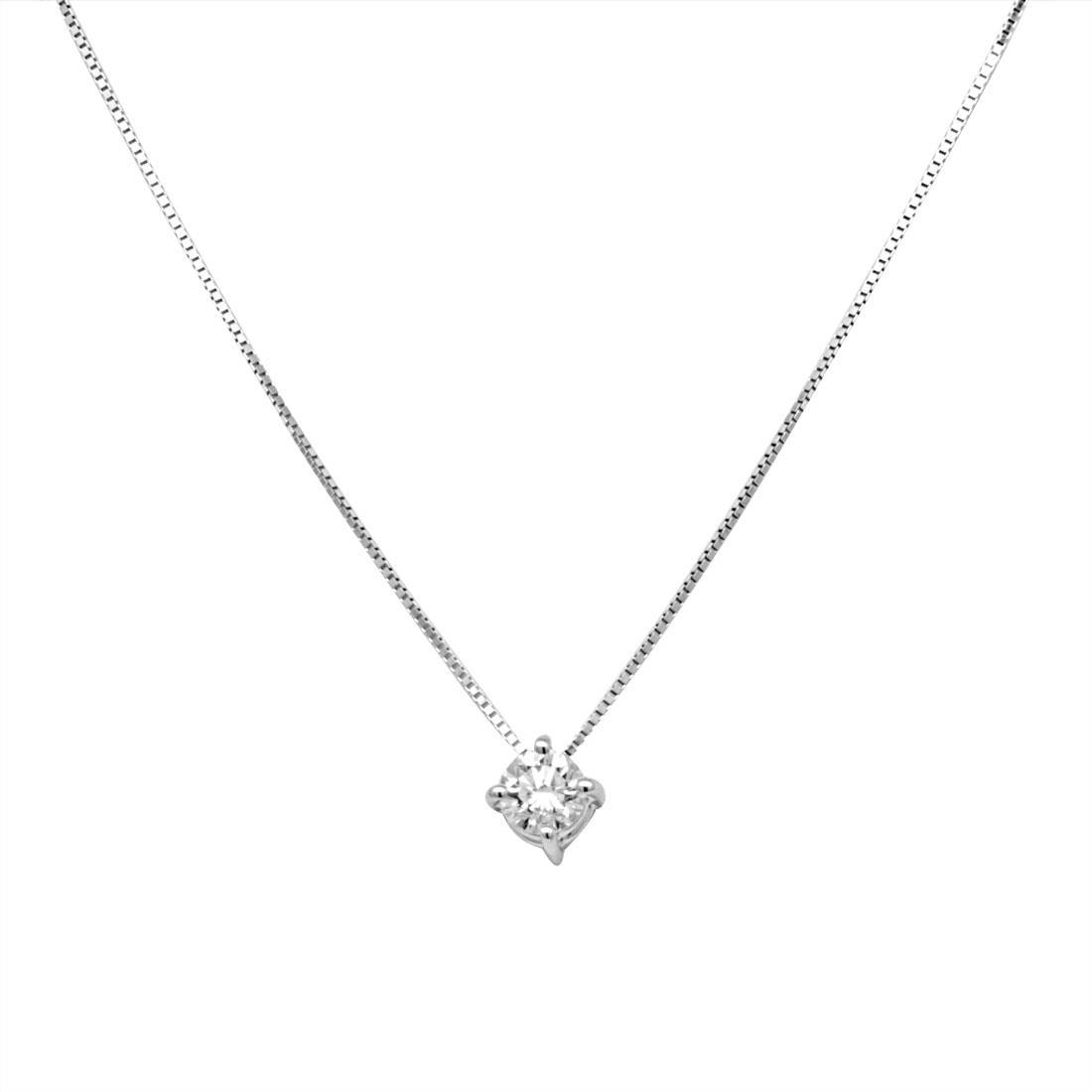 Collier punto luce in oro bianco con diamanti 0.20 ct  - ALFIERI & ST.JOHN