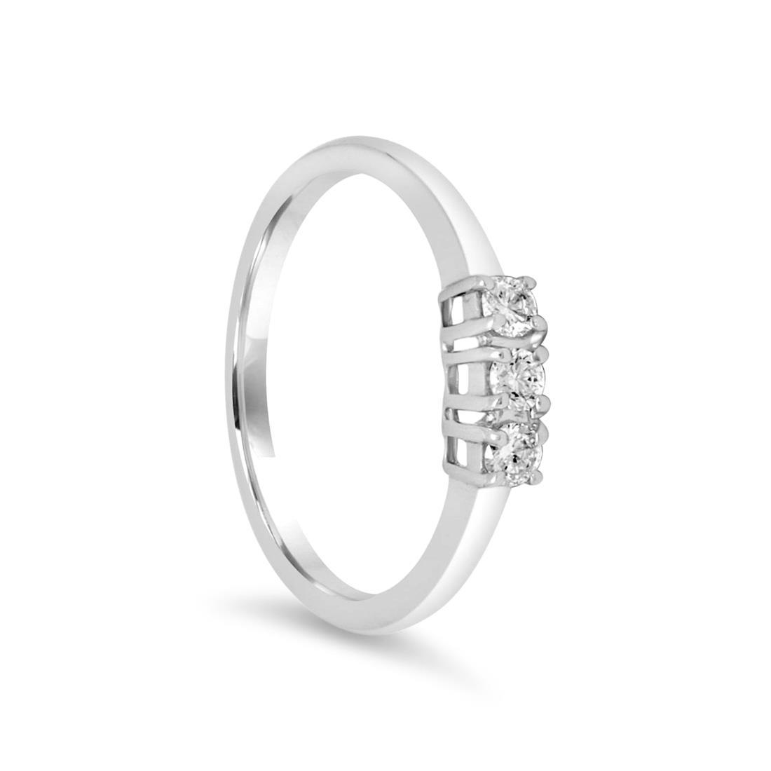 Anello trilogy in oro bianco con diamanti mis 13.5 - ALFIERI ST JOHN