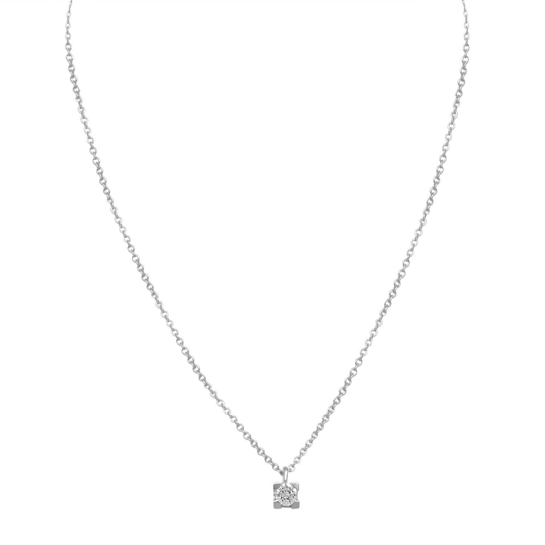 Collana punto luce in oro bianco e diamante ct 0.20 colore H, purezza SI2, lunghezza 41 cm - ORO&CO