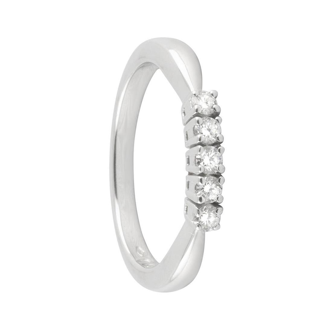 Anello veretta 5 pietre in oro bianco con diamanti ct 0.25, misura 15 - ALFIERI & ST. JOHN