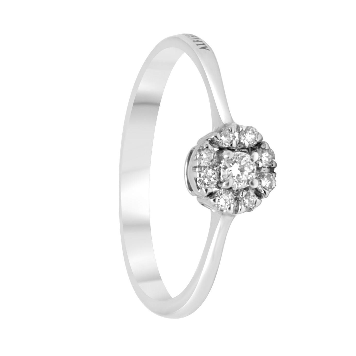 Anello in oro bianco con diamanti ct 0.16, misura 16 - ALFIERI ST JOHN