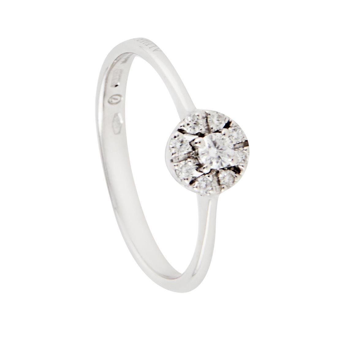 Anello in oro bianco con diamanti, misura 15 - ALFIERI ST JOHN