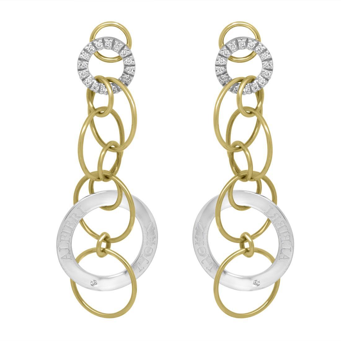 Orecchini pendenti in oro bianco e giallo con diamanti - ALFIERI & ST. JOHN