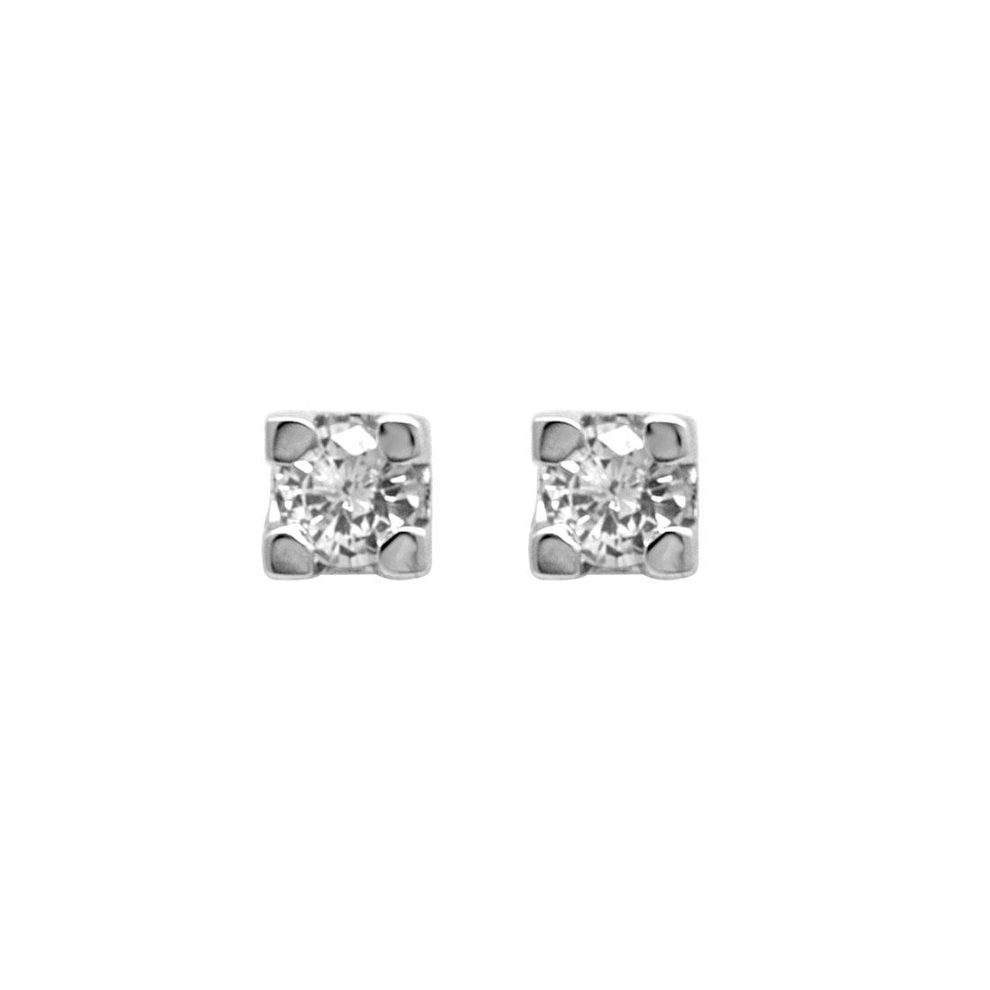 Orecchini punto luce in oro bianco con diamanti 0.20 ct - ORO&CO