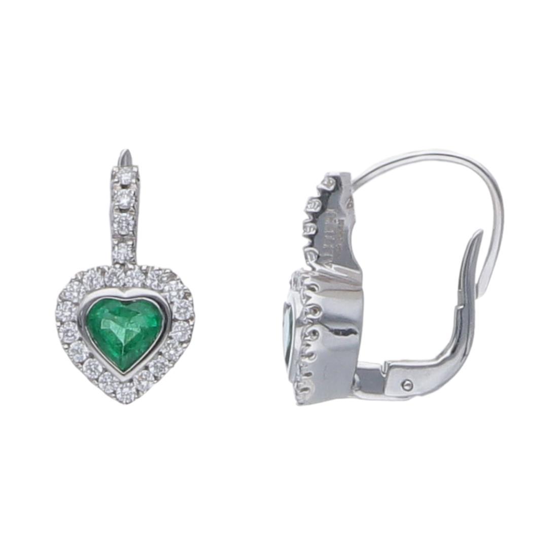 Orecchini cuore in diamanti e smeraldi - ALFIERI & ST. JOHN