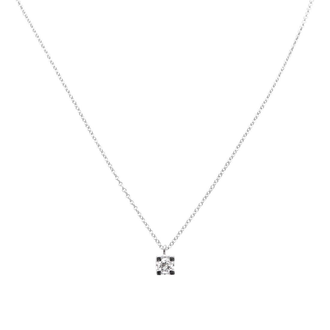 Collana punto luce in oro bianco con diamanti ct 0.30 - ORO&CO