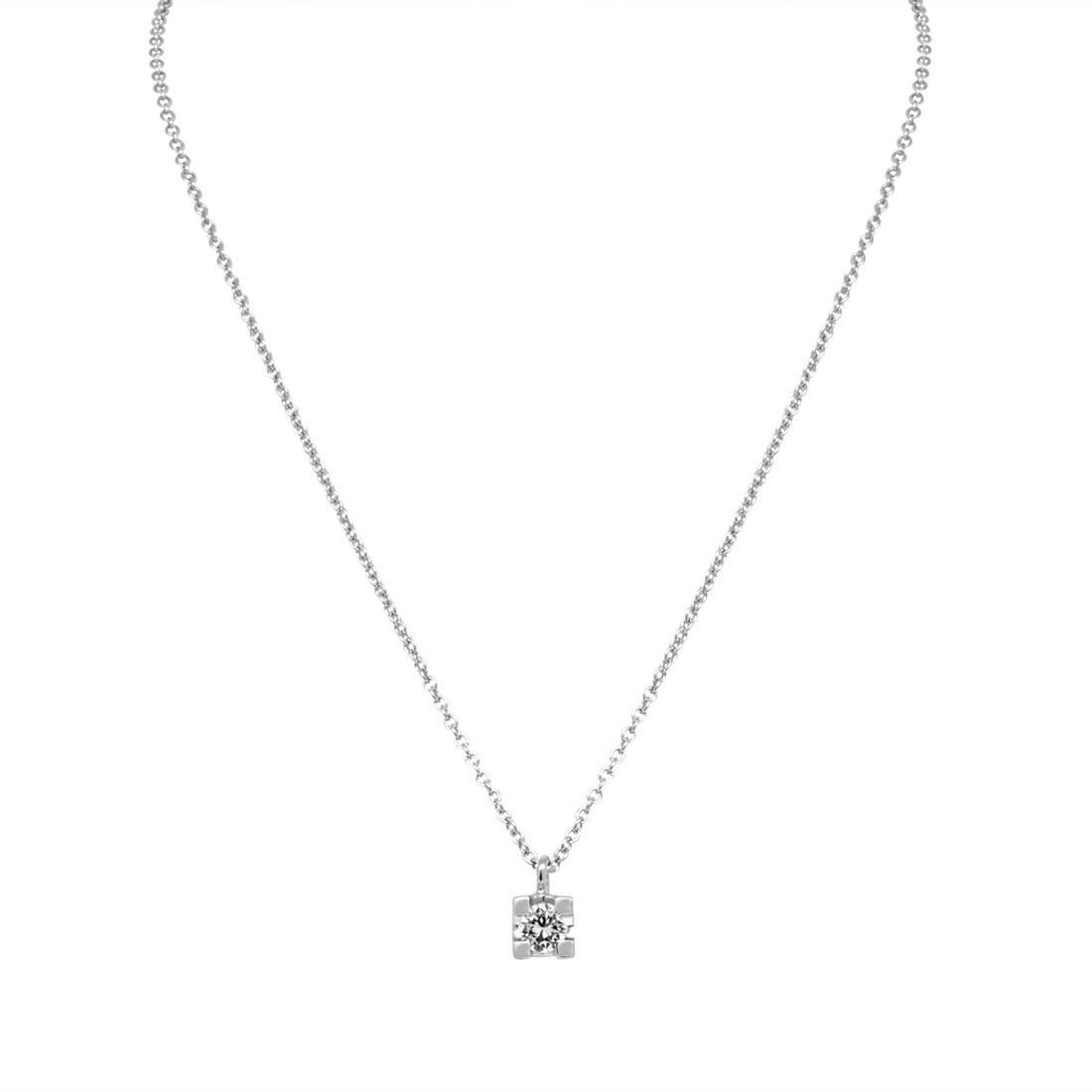 Collana in oro bianco punto luce con diamante ct 0.30, lunghezza 40cm - ORO&CO
