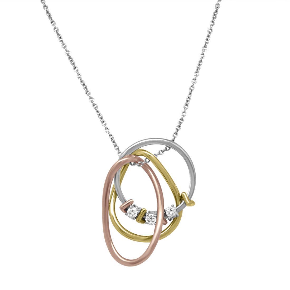 Necklace in oro bianco con pendente 4cm in oro bianco, giallo, rosa con diamanti, lunghezza 43,5cm - ALFIERI & ST.JOHN