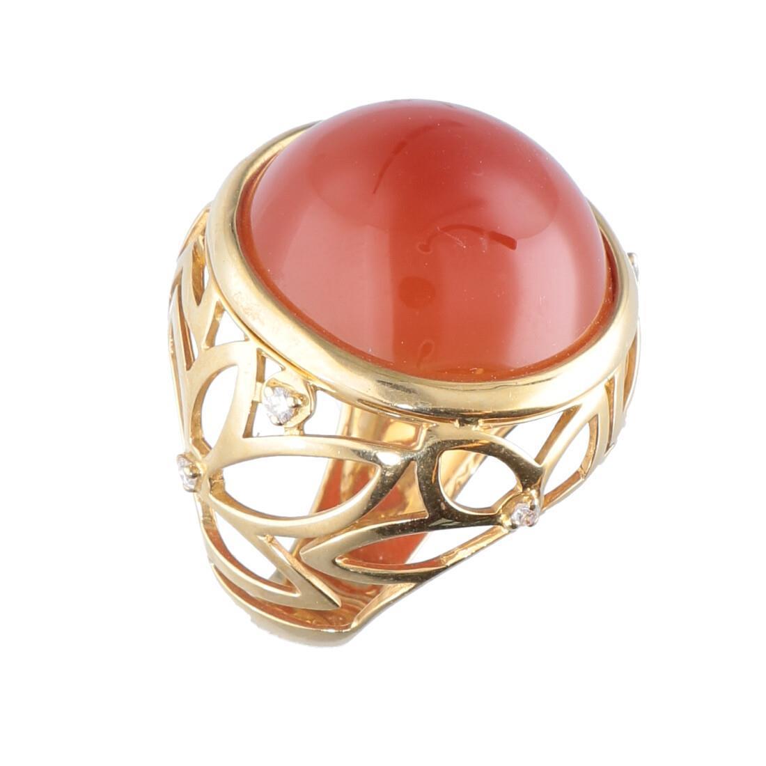 Anello in oro giallo con pietra rossa mis 12 - ALFIERI & ST. JOHN
