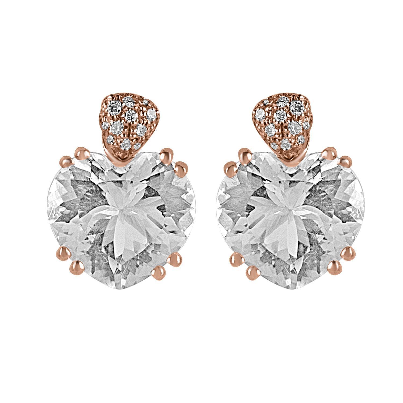 Orecchini in oro rosa con pavè di diamanti e pietre semipreziose - ALFIERI & ST. JOHN