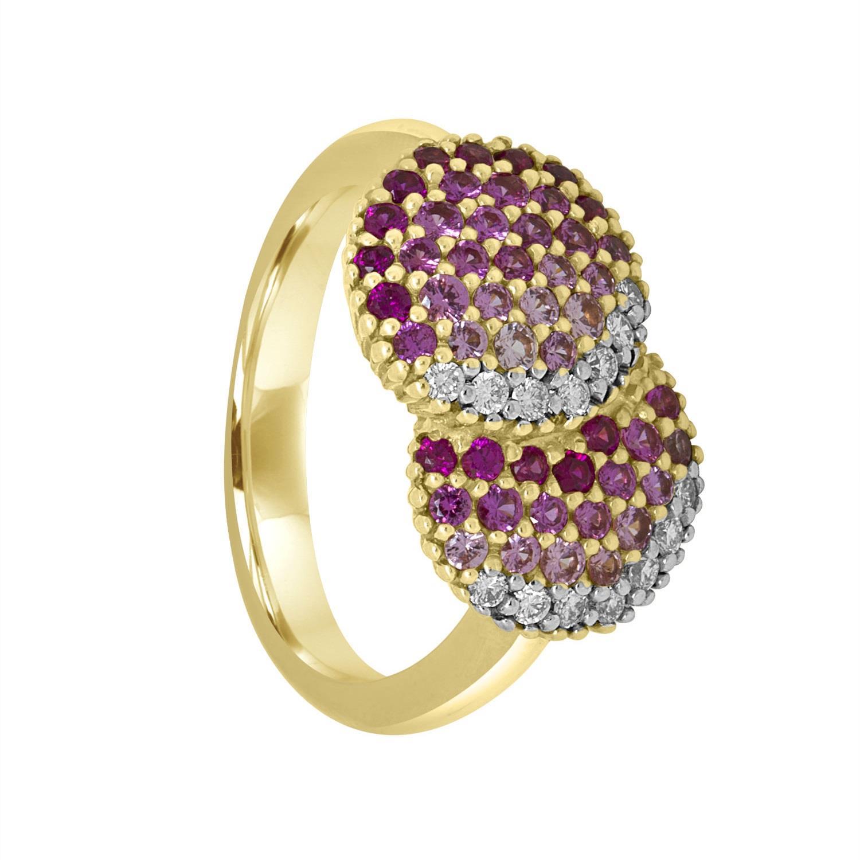 Anello in oro rosa e pavè di diamanti W 0,19 ct e zaffiri rosa 1,10 ct - ALFIERI & ST. JOHN