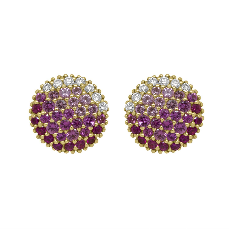 Orecchini in oro rosa con pavè diamanti ct 0,22 e zaffiri rosa ct 1,30 - ALFIERI & ST. JOHN