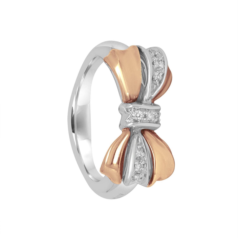 Anello in oro bianco e rosa con diamanti - ALFIERI & ST. JOHN