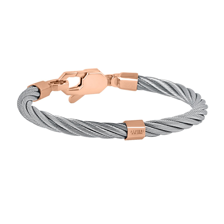 Bracciale in acciaio e oro rosa - ALFIERI & ST. JOHN