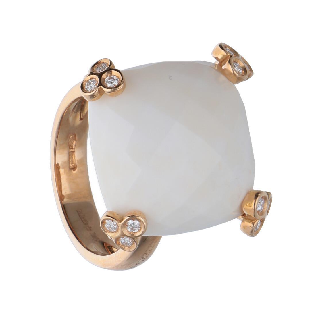 Anello in oro rosa con opale e diamanti mis 14.5 - ALFIERI & ST. JOHN