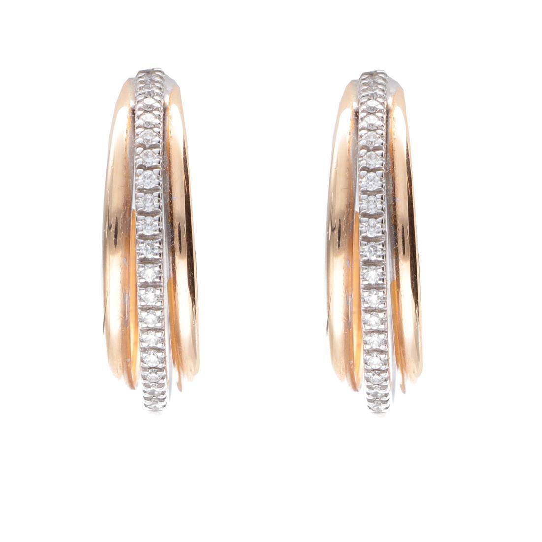 Orecchini a cerchio in oro bianco e rosa con diamanti - ALFIERI & ST. JOHN