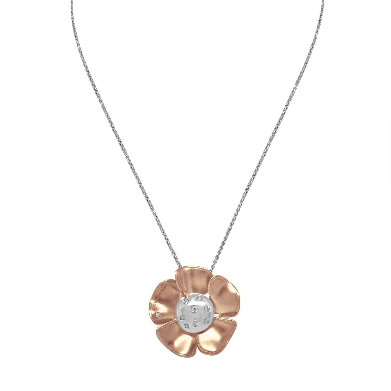 Collana in oro bianco e rosa con diamanti ct. 0,16 - ALFIERI & ST. JOHN