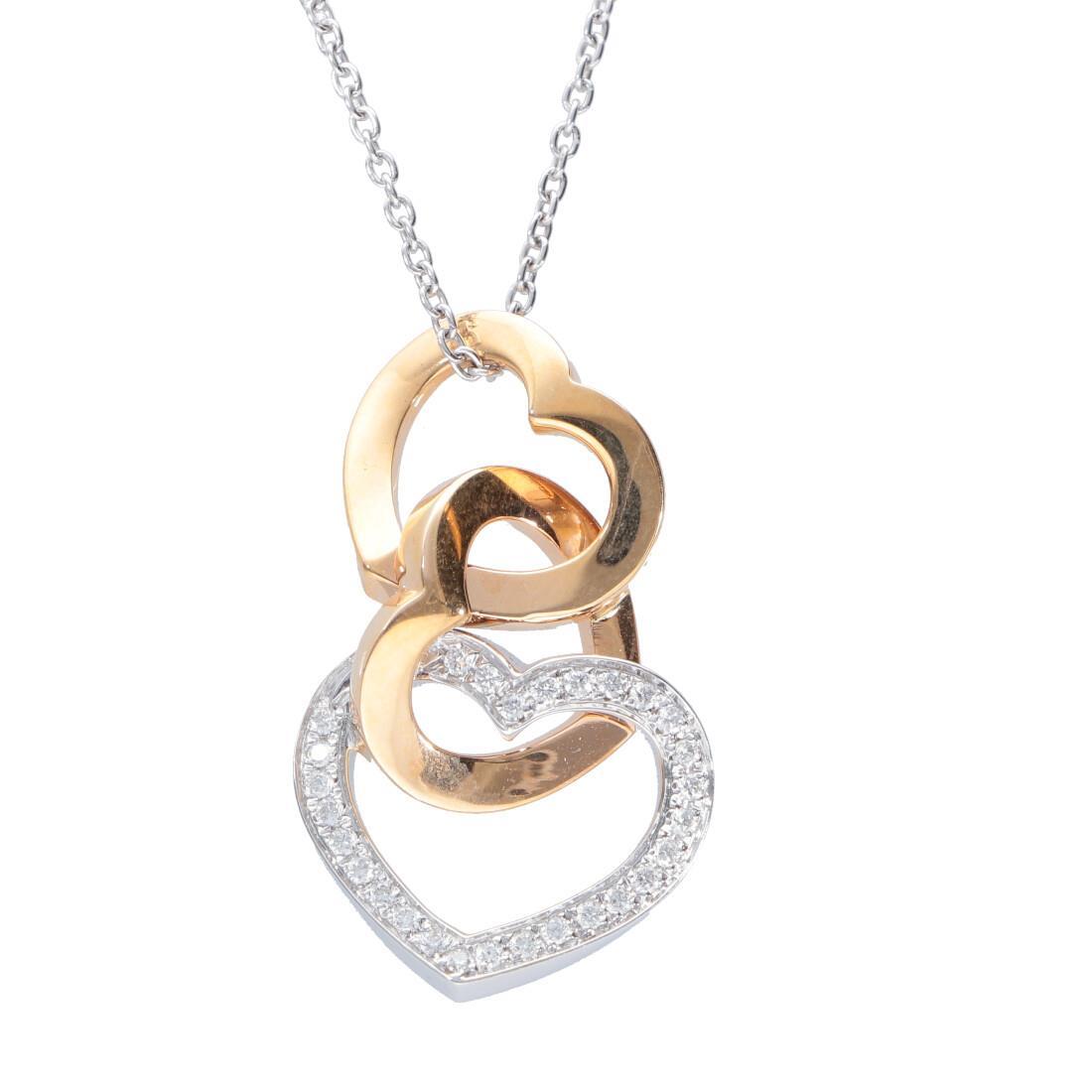 Collana con pendente oro bianco e rosa con diamanti - ALFIERI & ST. JOHN
