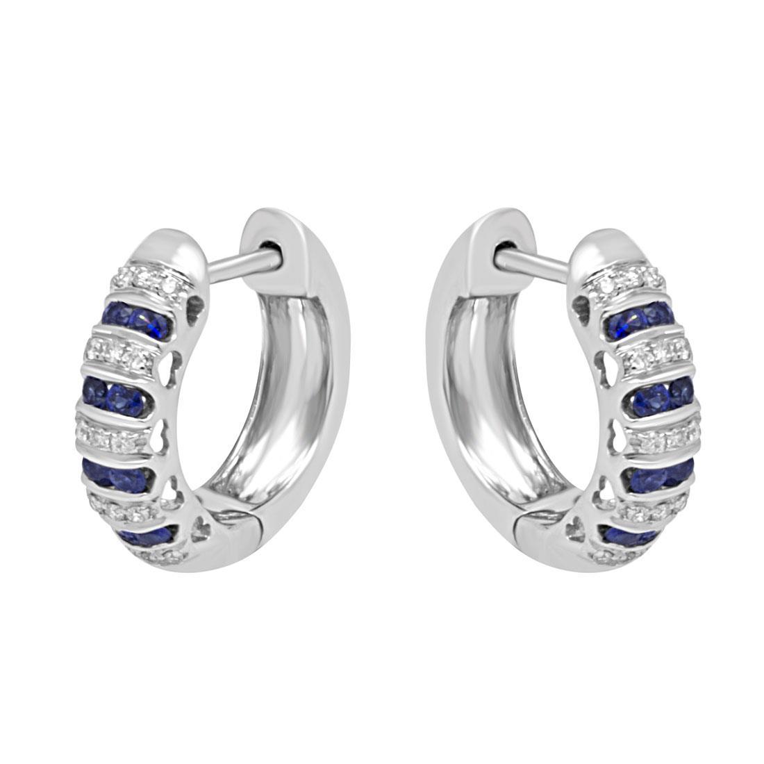 Orecchini a cerchio in oro bianco con diamanti e zaffiri - BLISS