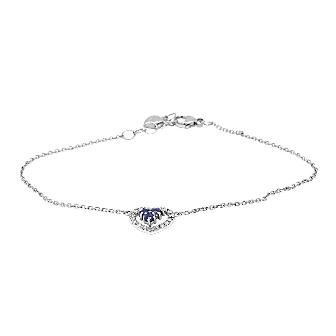 Bracciale in oro bianco con diamanti e zaffiro  - BLISS