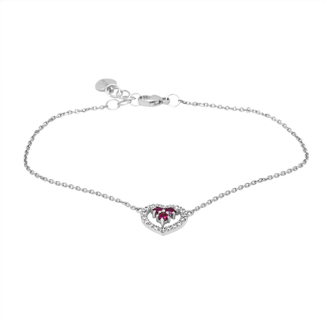 Bracciale in oro bianco con diamanti e rubini - BLISS