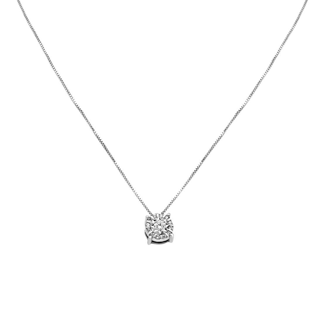 Collana punto luce in oro bianco con diamanti - BLISS