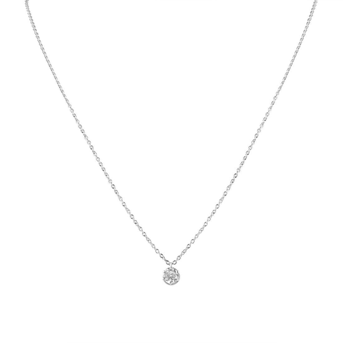 Collana punto luce in oro bianco con diamante ct. 0,45 - DAMIANI