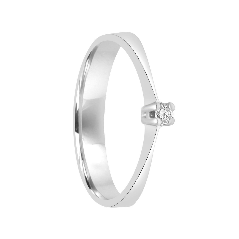 Anello solitario in oro bianco con diamante ct 0.05 - ORO&CO