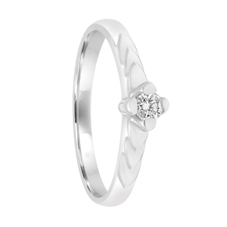 Anello solitario in oro bianco con diamante ct 0.09 - ORO&CO