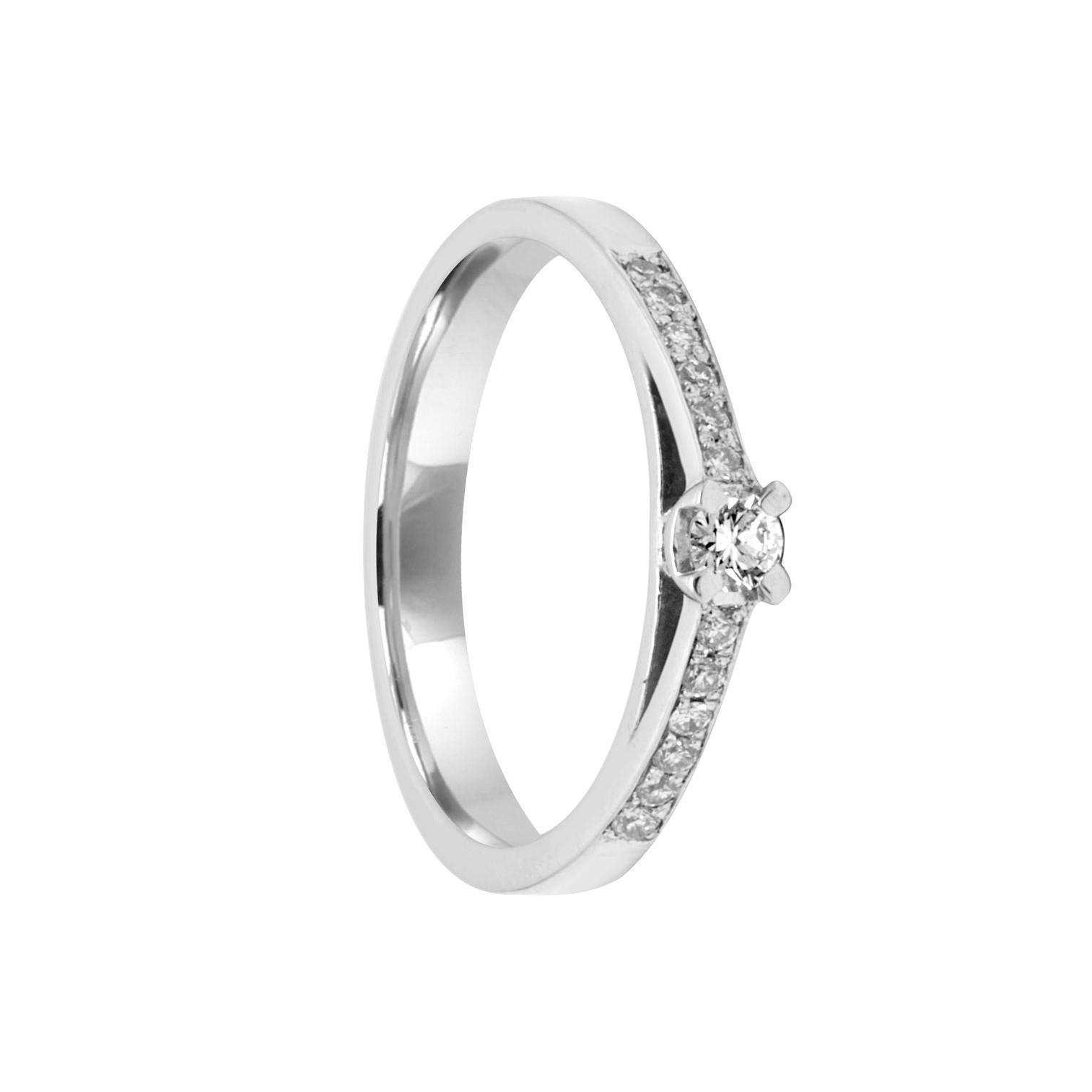 Anello in oro bianco con diamanti 0.22 ct mis 14.5 - ORO&CO