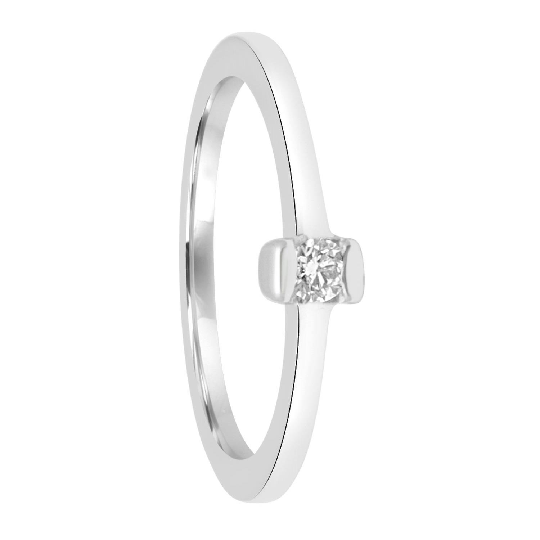 Anello solitario in oro bianco con diamante ct 0.10 - ORO&CO