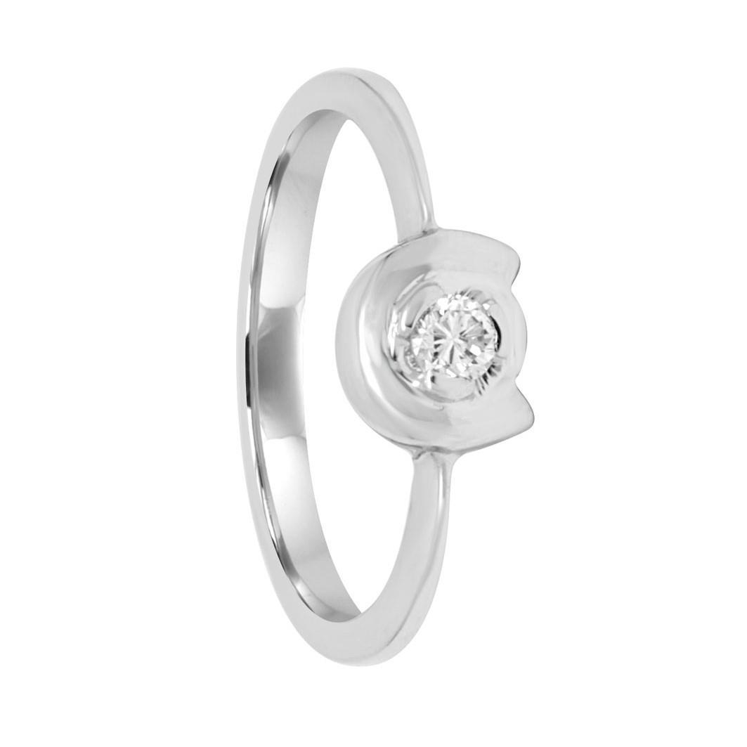 Anello solitario in oro bianco con diamante 0.10 ct mis 16 - ORO&CO
