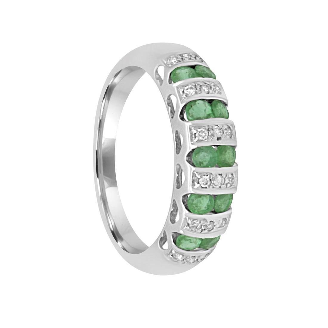 Anello veretta in oro bianco con diamanti ct 0.09 e smeraldi, misura 12 - BLISS