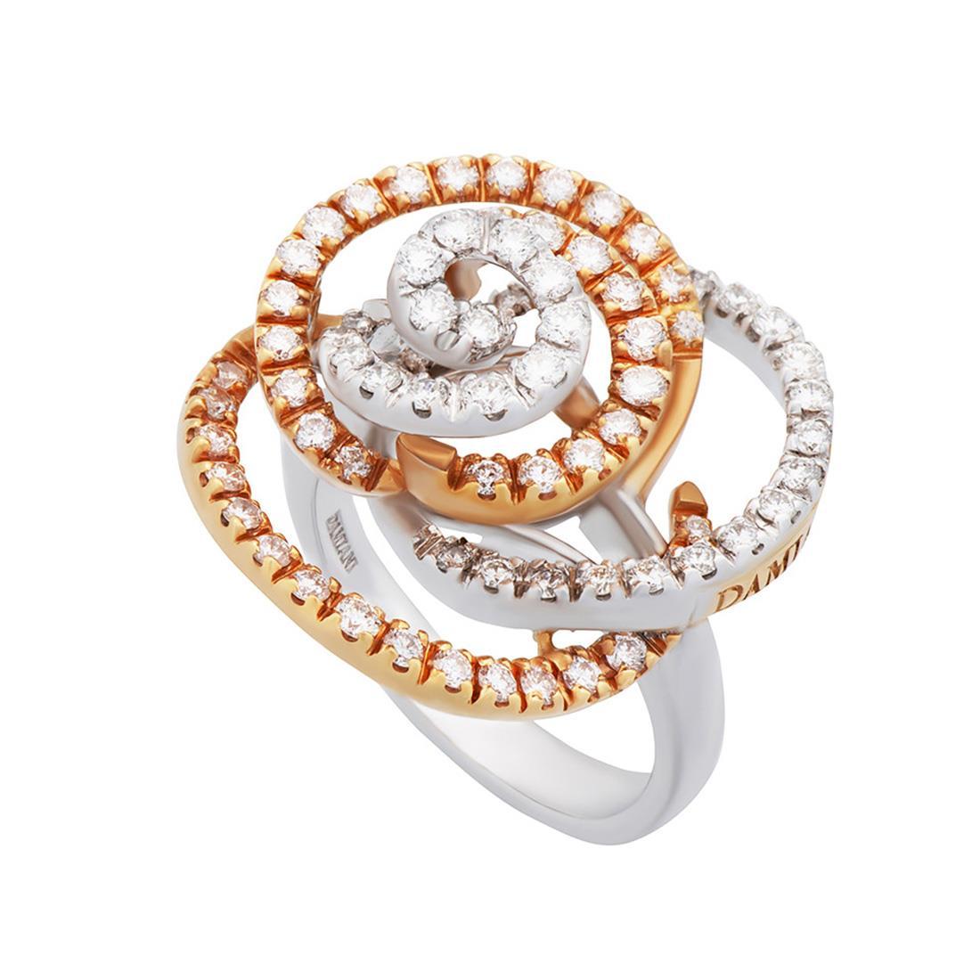 Anello in oro bianco e rosa con diamanti ct. 1,43 - DAMIANI