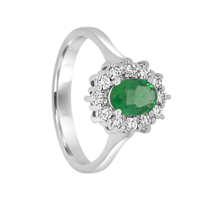 Anello con smeraldo e diamanti  - ORO&CO
