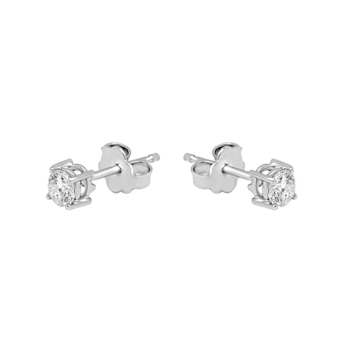 Orecchini punto luce in oro bianco con diamanti ct 0.50 - ALFIERI & ST.JOHN