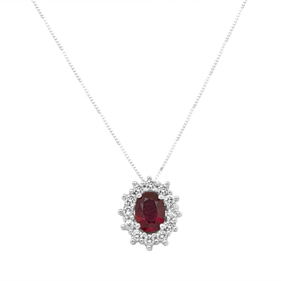 Collana in oro bianco e pendente 13mm con rubino ct 1,00 e diamanti ct 0.36, lunghezza 42cm - ORO&CO