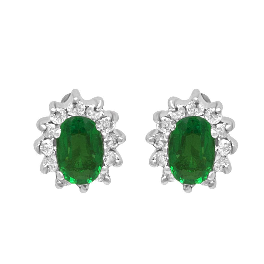 Orecchini in oro bianco con smeraldo ct 0.80 e diamanti ct 0.30 - ORO&CO