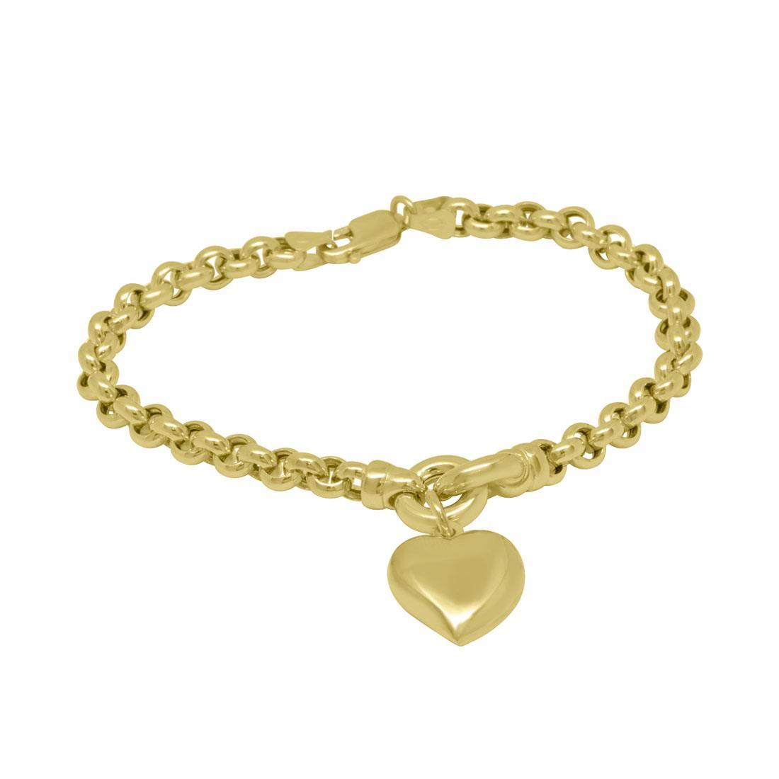 Bracciale in oro giallo con pendente a cuore - ORO&CO
