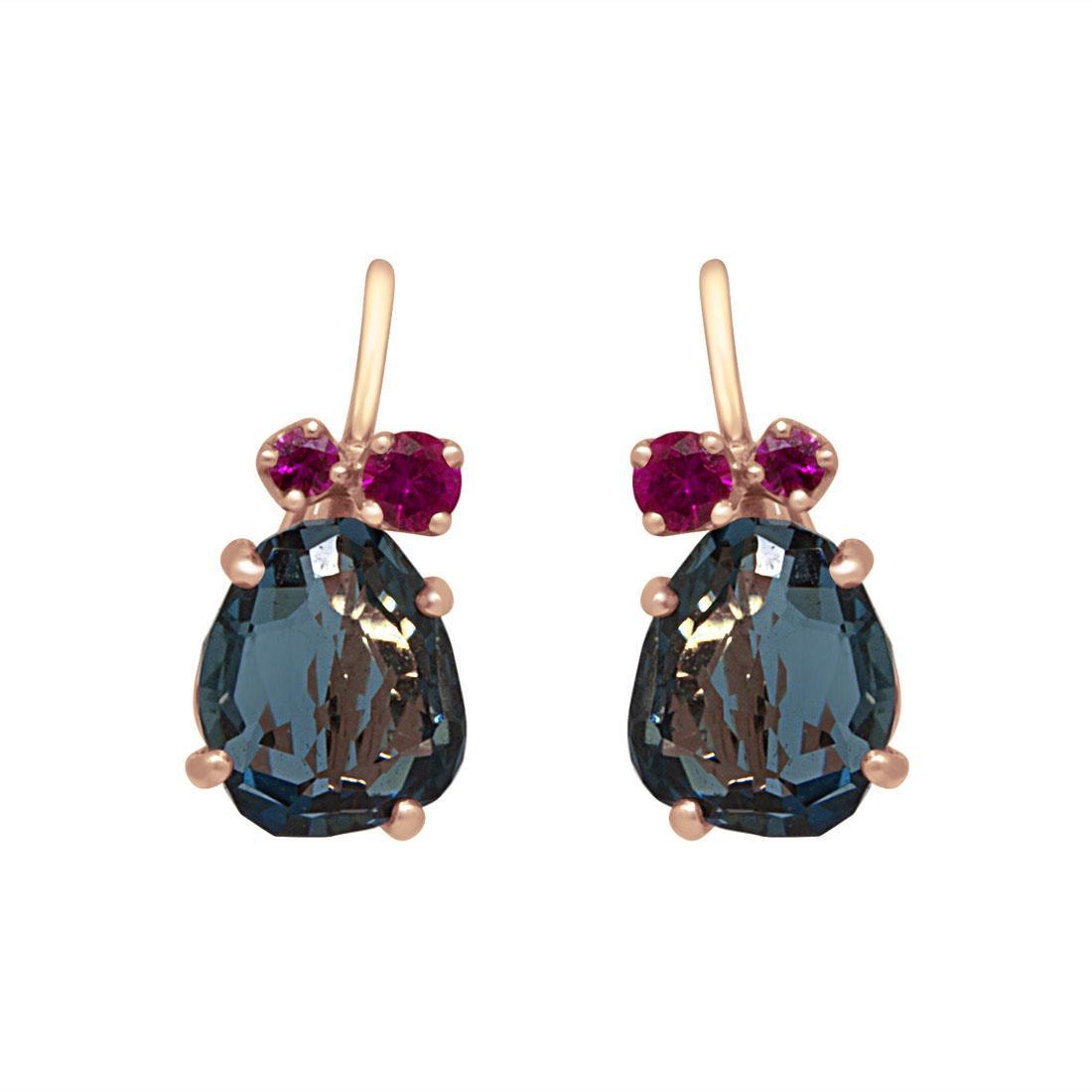 orecchini in oro rosa e con topazio blu e zaffiri rosa - POMELLATO