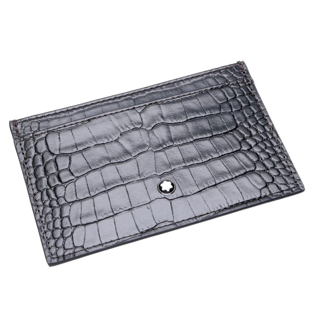 Porta carte di credito con 2 scomparti in pelle di vitello nera - MONTBLANC