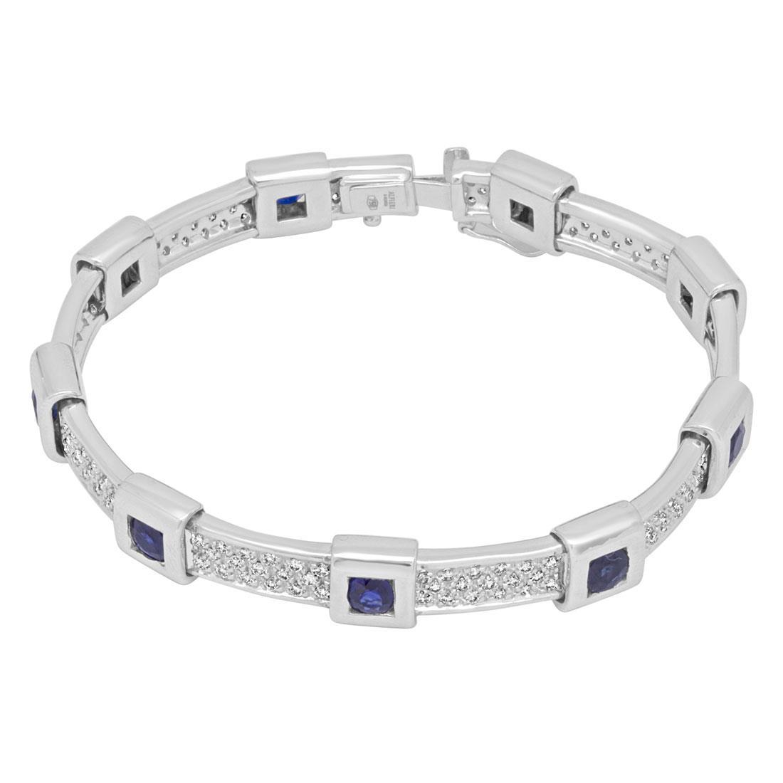 Bracciale rigido in oro bianco con diamanti e zaffiri - ALFIERI & ST. JOHN