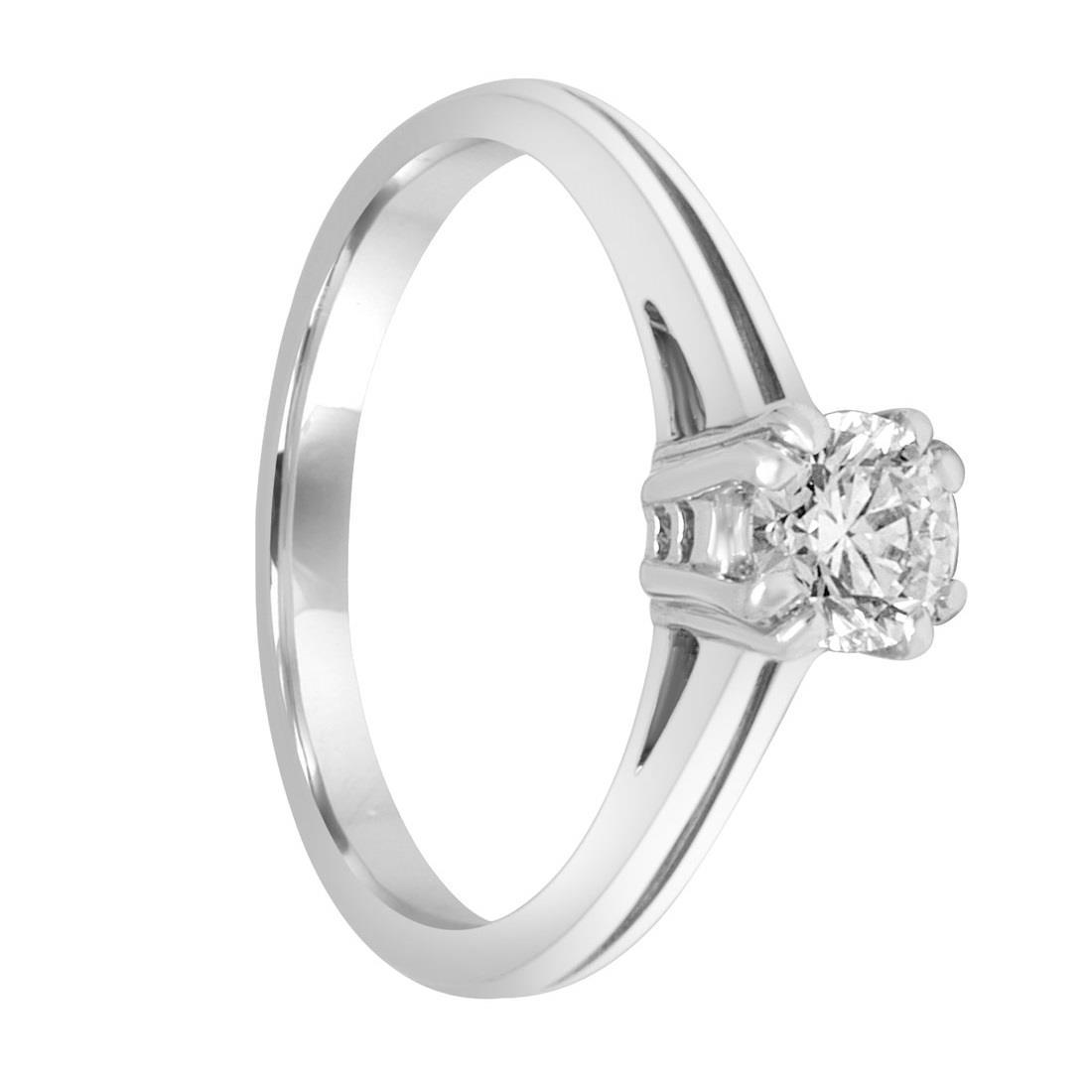Anello solitario in oro bianco con diamante ct. 0,45 - ALFIERI & ST.JOHN