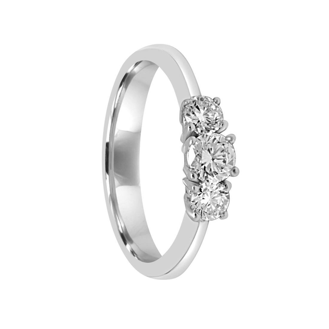 Anello trilogy in oro bianco con diamanti ct 0.64, mis 15.5 - ALFIERI & ST.JOHN