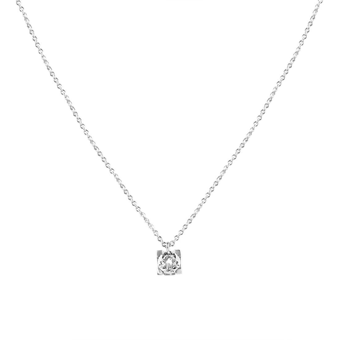 Collier punto luce in oro bianco con diamante  - ORO&CO