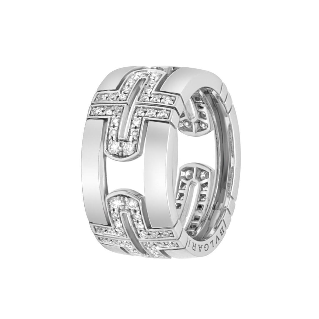 Anello in oro bianco con pavè di diamanti mis 18 - BULGARI