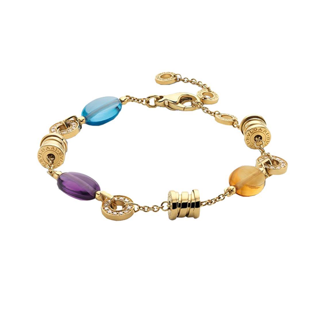 Bracciale in oro giallo con diamanti e pietre semi-preziose - BULGARI