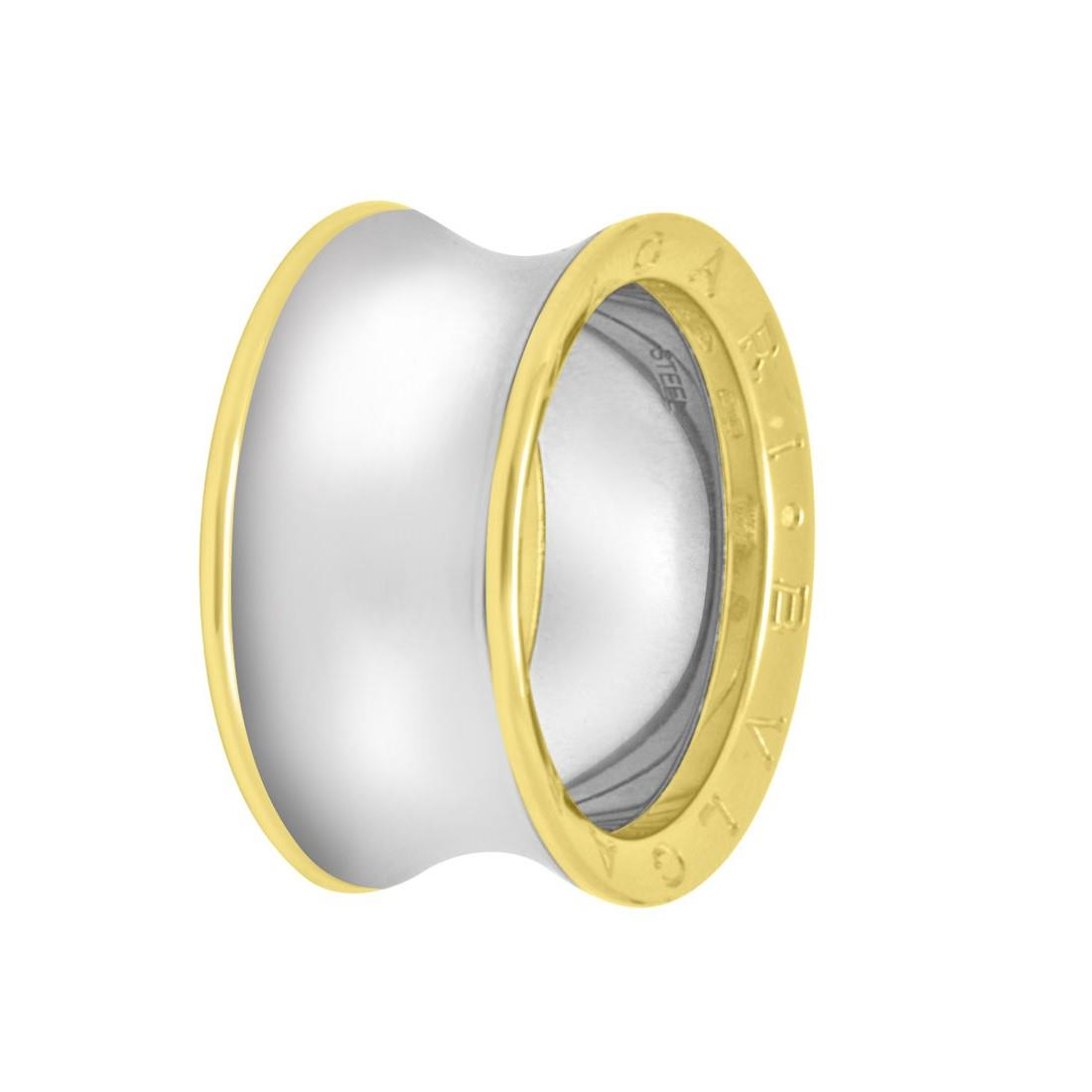 Anello in oro giallo 18 kt e acciaio, misura 20 - BULGARI