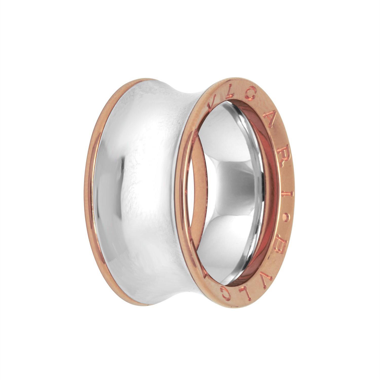 Anello a fascia in oro rosa e acciaio - BULGARI