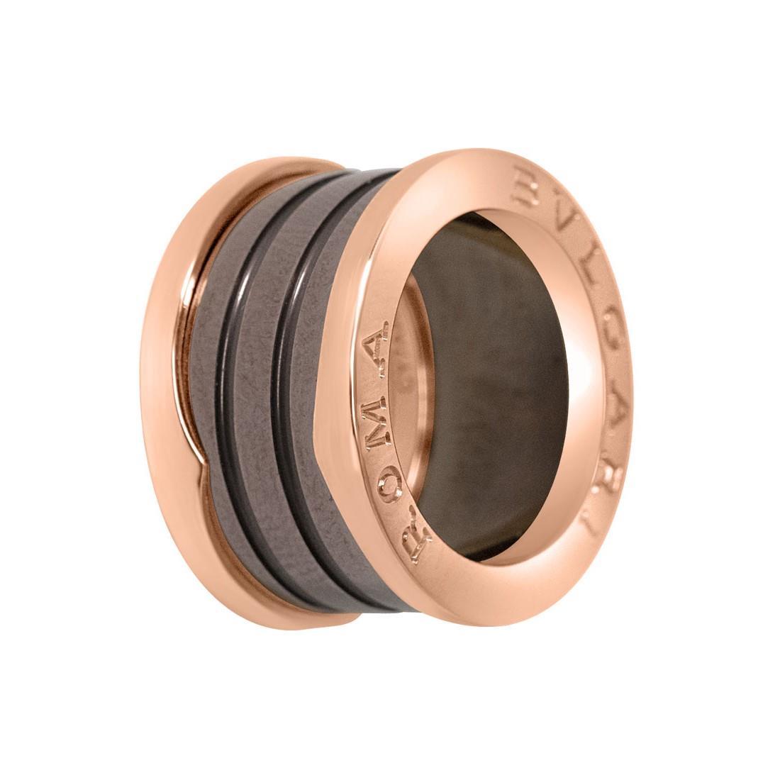 Anello in oro rosa a 4 fasce con ceramica di bronzo, misura 49 corr 8/9 - BULGARI